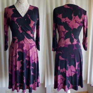 CAbi Style #837 Purple Print Wrap Dress